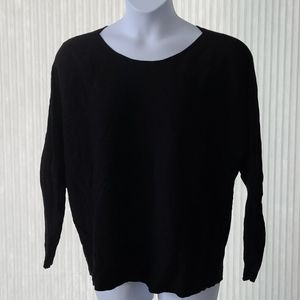 Lane Bryant Black Ribbed Scoop Neck Sweater